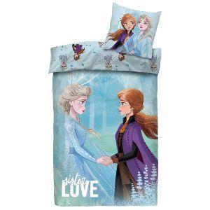 Sødt Frost sengetøj i blå med allover print af Elsa og Anna
