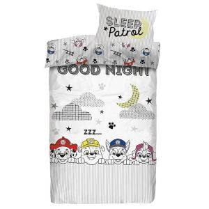 Paw Patrol sengetøj i hvid, med hundene, månen og skyer