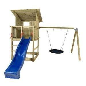 Plus Play legetårn med skråtag inkl. gyngestativ, blå rutsjebane og redegynge