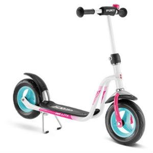 hvidt løbehjul med pink og turkis detaljer til piger