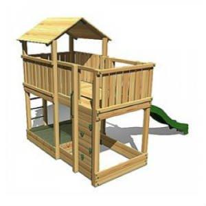 Køb Hy-land legetårn med sandkasse og rutsjebane