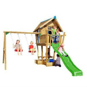 Jungle Gym Crazy Playhouse tårn komplet inkl. swing module xtra og rutschebane