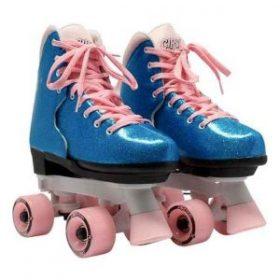 Børne side by side rulleskøjter, Pink Bubble Gum i blå glimmer og lyserød