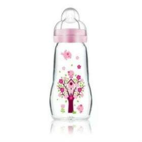 Glassutteflaske i et fint pige design, egnet til 2 mdr+