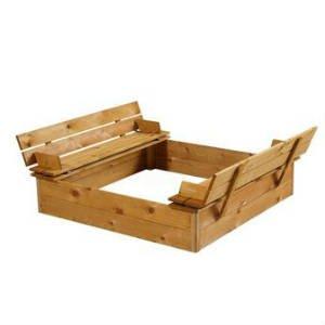 køb en sandkasse i træ med bænk